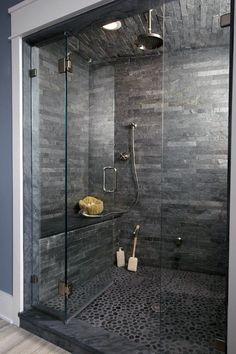 Top best modern shower design ideas walk into luxury in remodel dark grey pebble floor bathroom . how to design a walk in shower remodel Dream Bathrooms, Beautiful Bathrooms, Master Bathrooms, Luxury Bathrooms, Master Bedroom, Kids Bedroom, Grey Bathroom Tiles, Slate Tiles, Stone Bathroom