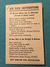 Air Raid Instructions Card Chicago Civil Defense Corps Mayor Kennelly 1951