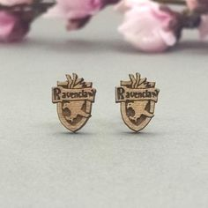 Harry Potter Ravenclaw Crest Laser Engraved Wood Earrings