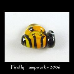 Glass Bee Beads | Busy Bee - Yellow & Black Glass Bee Bead - Firefly Lampwork Beads
