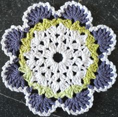 Southwestern Crochet Dishcloth - purple, lime green, and white!