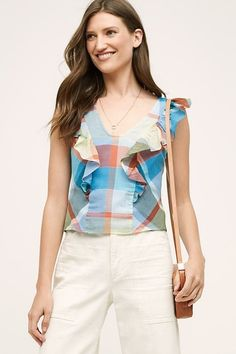 Maeve Anthropologie Women's Sz 4 NWT Plaid Ruffle Blouse Beautiful Drive-in Top #Maeve #Blouse #Casual