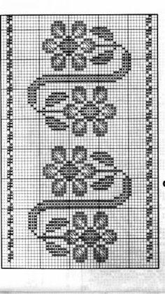 Cross Stitch Borders, Cross Stitch Flowers, Cross Stitching, Cross Stitch Embroidery, Hand Embroidery, Cross Stitch Patterns, Crochet Curtains, Tapestry Crochet, Crochet Doilies