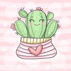 Art Mignon, Cactus Art, Cute Images, Canvas Prints, Art Prints, Cartoon Styles, Watercolor Illustration, Cute Drawings, Painted Rocks