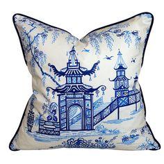 Navy Blue & Ivory Pagoda Chinoiserie Cushion 18 by GillesandFranck