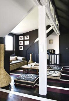a home in Paris designed by Sarah Lavoine as seen in Marie Claire Maison Attic Spaces, Small Spaces, Interior Decorating, Interior Design, Design Interiors, Painted Floors, Black Walls, Eclectic Decor, White Decor