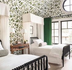 "Marisa Marcantonio on Instagram: ""Pretty and fresh in green and white! Harbinger of spring.  The energizer @palmerweiss designed the most charming bedroom. 📷: @drewkellyphoto"""