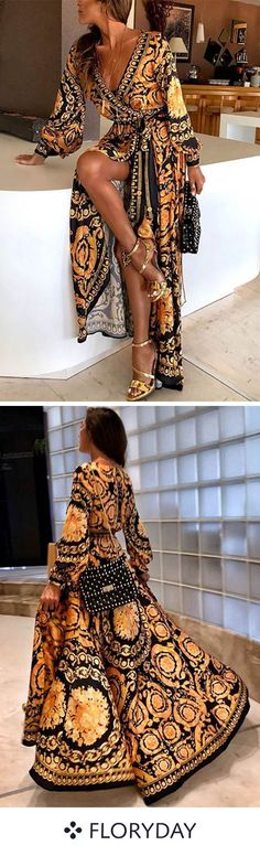 Nadire Atas on Simple Elegance Early Spring Long Sleeve V-Neck Print Maxi Dress Cute Outfits With Jeans, Casual Outfits, Mode Outfits, Fashion Outfits, Womens Fashion, Dress Fashion, Leather Leggings Look, Mode Hippie, Hippie Chic