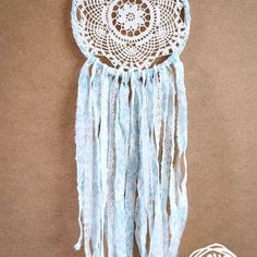 Dream Catcher - Blue Flower - With White Crochet Web, Floral Patterned Turquoise Textiles and White Laces - Home Decor, Nursery Mobile