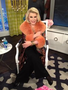 What Joan Rivers wore on March 17. Dress: Joan Rivers Classics Collection  Blazer: Somper Furs   Jewelry: Adeler & Me