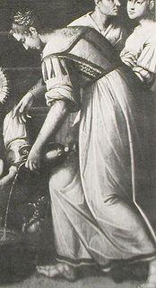 Side/Back lacing. Ribbon ties for sleeves. Bodice guards.   Pietro Ronzelli: Nativita di Maria, Chiesa del Carmine, Bergamo