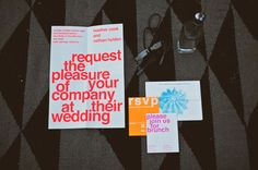 modern invitations with bright colored print