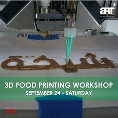 Food 3D printing workshop aimed to show you what is possible when you mix food with technology. You will learn how to 3D print and design food. @art_kw  Date: Saturday September 24 Time: 6 pm - 9pm Age: 15 years old - adults  For more information please contact us on: 96522282130 Or email us at info@artkuwait.com.kw  ورشة عمل طباعة الطعام بالطابعة ثلاثية الأبعاد إذا وضعت الطعام مع التكنولوجيا سترى العجائب. في هذه الورشة ستتعلم كيف تطبع و تصمم طعام ثلاثي الأبعاد.  التاريخ: السبت  سبتمبر…