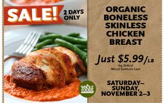 Whole Foods Two-Day Sale: Organic Chicken Breasts $5.99/lb.