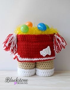 Cheerleader Skirt Gift Basket crochet pattern from Blackstone Designs #Easter #Coach #Gift #Wine