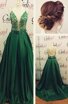Deep V Prom Dress Sexy Prom Dress Green Prom Dress Beautiful Prom Dress,273