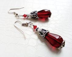 Red teardrop earrings  by MercysFancy on Etsy