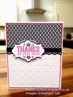 Thank you card using the cute black and white side of the Stacked with Love DSP.
