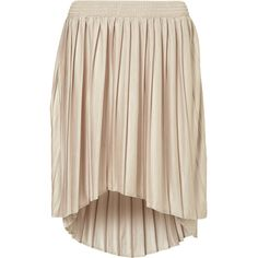 Pleated Dip Hem Skirt (1.400 RUB) ❤ liked on Polyvore featuring skirts, bottoms, юбки, dresses, pink high low skirt, high low skirt, short front long back skirt, hi lo skirt and knee length pleated skirt