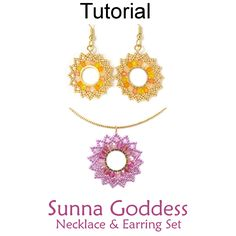 Beaded Sunna Goddess Sun Earrings Necklace Set Beading Pattern Tutorial Download by Cara Landry with Simple Bead Patterns | Simple Bead Patterns