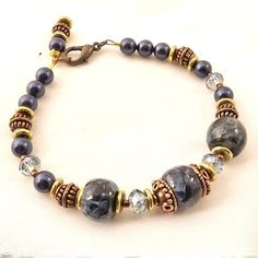Blue Pietersite bracelet, copper, dark blue pearl crystal, brass by Martie Rocco on Artfire