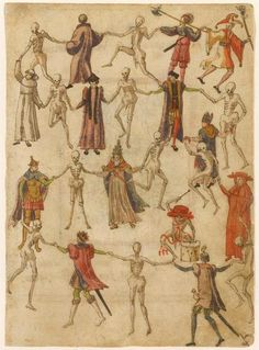 Dance Macabre, artist unknown, Germany,16th century.>>Death-inspired art blossomed post-Black Death.