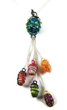 Caged Beads Tassel Necklace, Multi-Colored Beads and Wire Necklace, Lampwork and Cracked Glass Bead Necklace, Multi-Colored Tassel Necklace