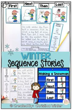 These story sequencing activities are perfect for kindergarten, first, and second grade students. The activities include sequence cards to order and write a sequence story. The sequence cards could also be used to practice oral language skills to retell a story. Also included are NO PREP worksheets to order events and write.