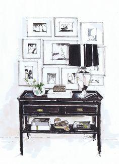 Creating Visuals through the Design Process: - Certificate IV in Interior Decoration - Term One Interior Design Renderings, Drawing Interior, Interior Rendering, Interior Sketch, Interior Architecture, Interior And Exterior, Classical Architecture, Sketch Design, Presentation Design