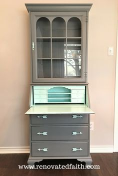 Secretary Desk Makeover - You might remember my pristine DIY Entertainment Center that I featured on the blog a couple weeks ago.  Now marred by water damaged and covered with dust, these pieces currently sit in our garage&…