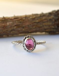 Simple 6x4mm Pink Tourmaline Twist RingPerfect by Degenhartdesigns, $34.00