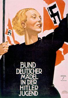 Liga de Muchachas Alemanas en las juventudes hitlerianas. Poster alemán de 1936