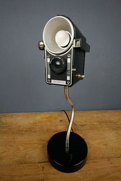 Handmade Upcycled Vintage Camera Lamp