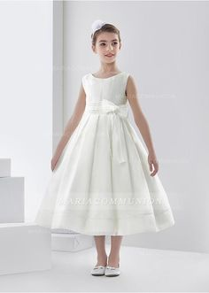 Simple Ball Gown Bateau Sleeveless Bow(S) Tea-Length Organza First Communion Dresses