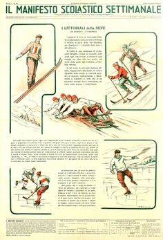 Winter Sports Education Italy 1935 - original vintage poster listed on AntikBar.co.uk
