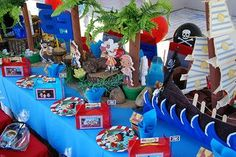 #9 on the Disney Driven FOOD Summer Bucket List -  Pirate themed dinner (Color scheme) Beautiful Jake and the Neverland pirates party decorations
