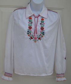 Vintage Ethnic  Romanian Matyo Folk Art Peasant Blouse Embroidered Bright Floral #matyo