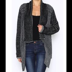 "Stylish, warm, soft knit open Cardigan Comfortable knit open cardigan has a great flattering cut. Black and white throughout. Available in Small only. Laying flat, Small measures  18"" armpit to armpit.100% acrylic. This is an awesome piece to add to your wardrobe! Kadence Jackets & Coats"