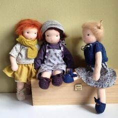 The Pilou doll, is a doll between a waldorf doll and a rag doll. They have a tiny nose.Their hair can be made of straight brushed mohair or bouclé mohair (curly).