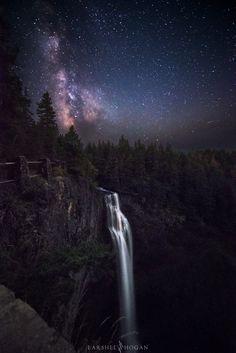 [OC] Milky Way rising over Salt Creek Falls Oregon [1360x2040]
