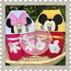 Boy & Girl Mice Applique Peekershooded towel designs. #Embroidery #Applique