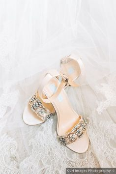Wedding shoes - gold, rhinestones, open toe, fall {CLH Images Photography}