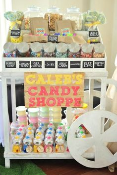 Great inspiration for an all candy party - make it look like an old time candy shoppe!