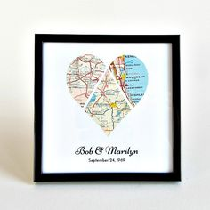 Personalized Wedding Map Art custom crafted from vintage maps + antique atlases by salvagedstudiomke on Etsy / wedding gifts, engagement gifts for the couple, personalized wedding map, gifts for bride and groom