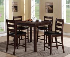 """Quinn  5 Piece Counter Height Table and 4 Chairs  $599.00     Table  42"""" x 42"""" x 36"""" H     Chair $99.00  20"""" x 19.5"""" x 42"""" H        C/M 2764"""