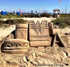 Whataburger sand sculpture on the Texas coast, from HomeGrown Texan