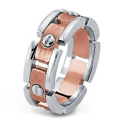 Unique and Manly Segmented Rivet Men's Wedding Band with Rose Gold and Platinum. #Adiamor #mensweddingband