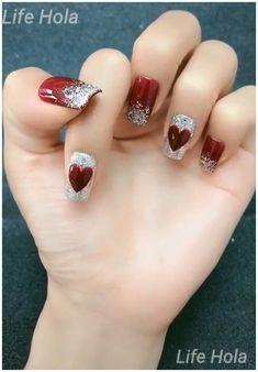 Valentine's Day Nail Designs, Nail Art Designs Videos, Nail Art Videos, Simple Nail Art Designs, Easy Nail Art, Chevron Nail Designs, Red Nail Art, Red Nails, Xmas Nails