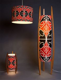 Kowhaiwhai retro lighting, New Zealand Maori Patterns, Maori People, Maori Designs, New Zealand Art, Maori Art, Retro Lighting, Ethnic Design, Kiwiana, Art Carved