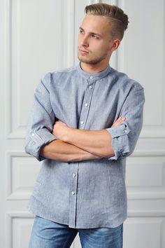 #men #shirt #linen #blue #100%handmade #KOIRE  www.koireshop.com